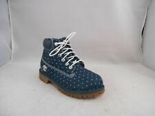 Timberland Blue Canvas Ankle Boots w/ White Polka Dots Kids Size 1 M Super Cute!