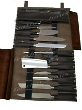 Lightweight Premium Genuine Leather 14 Pockets Professional Chef Knives Bag/Roll