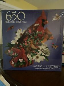 Russell Cobane Cardinal Courtship 650 Piece Puzzle Complete