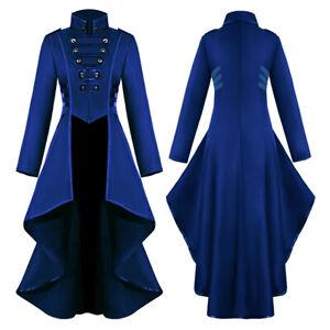 Women's Steampunk Vintage Ruffle Tailcoat Jacket Gothic Victorian Coat Costume