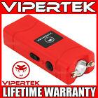 VIPERTEK Stun Gun Micro Mini RED VTS-881 390 BV Rechargeable LED Flashlight <br/> 390 Billion Stun Gun + LIFETIME WARRANTY + FREE Case