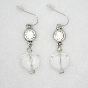 chico's jewelry antique silver plated cut crystals hoop drop dangle earrings