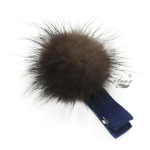 2pcs Cute Real Mink Fur Pom Pom Hair Clip Pin Barrette for Girl Cosplay