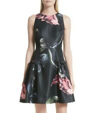 Women's Ted Baker London Sarahe Floral Fit & Flare Dress, Size 0 - Black 151999