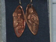Copper Earrings Fossil Nature Inspired Theme Fish Hook Drop/Dangle Style