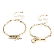 Lux Accessories Gold Tone Partners in Crime Gun Handcuffs Bracelet Set 2PC
