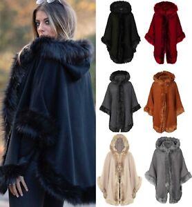 New Women's Faux Fur Trim Hooded Poncho Ladies Wrap Cape  Coat Celeb Cardigan