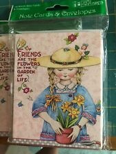20 Mary Engelbreit Blank Note Cards & Envelopes Friends Are Flowers in Garden