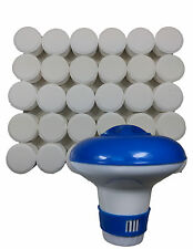 Chlorine Bromine Floating Dispenser with 30 x 20g Tablets for Hot Tub Spas