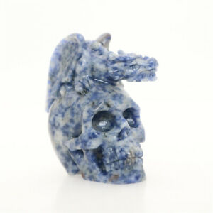 """2.4"""" 143g BLUE DOT STONE Carved Dragon Crystal Skull,Crystal Healing Reality"""
