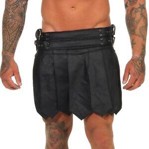 XS-XXXL*Gladiator Skirt Kilt Rock Schwarz Echt Leder 4 Schnallen & Gürtel NEU