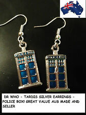NEW NEW SILVER DR WHO TARDIS POLICE BOX EARRINGS AUS SELLER/MADE GREAT 106W