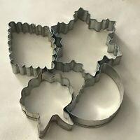 Vintage Metal Cookie Cutters Lot Diamond Moon Snowflake Wreath 3 to 4 inch
