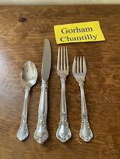 "Gorham Sterling Silver ""Chantilly"" 4 Piece flat ware set Place Setting"