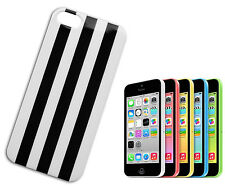 HOUSSE COUVERTURE FLIP COMPATIBLE IPHONE 5 RIGHE BANDES VERTICAL BLANC NOIR