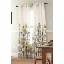 "Set 4 Threshold Watercolor Gray Yellow Floral Drapery Panels 53"" X 80"" Curtains"