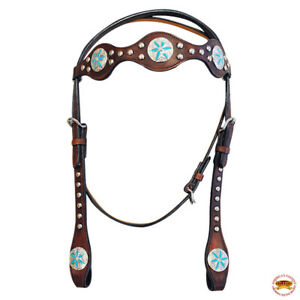 Hilason Western Horse Headstall Bridle American Leather Brown Blue