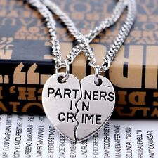 2pcs Silver Plated Heart Partners in Crime Pendant Necklaces Couple Friend Gift