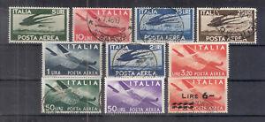REPUBBLICA 1945-47 DEMOCRATICA Serie Aerea Valori Usati e Nuovi MH Sassone 45 E