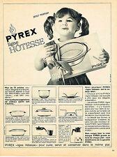 PUBLICITE ADVERTISING 124  1963  PYREX  ligne HOTESSE plats en verre