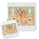 Golden Retriever Kitchen Dish Towel and Pot Holder Gift Set