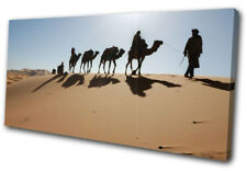 Dessert Camels  Landscapes SINGLE DOEK WALL ART foto afdrukken
