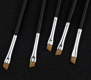 5Pcs Eyebrow Inclined Flat Angled Brush Eyeliner Eyeshadow Eye Brow Makeup Tool