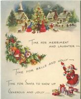 VINTAGE CHRISTMAS VIGNETTE VICTORIAN TREE VILLAGE BELLS SANTA MOON GREETING CARD