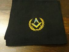 Masonic Scarf  square and compass surrounded by two sprigs of acacia design