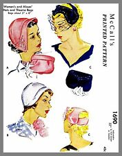 Vintage McCall's  Millinery Hat Bag Purse Fabric Material Sewing Pattern  #1690