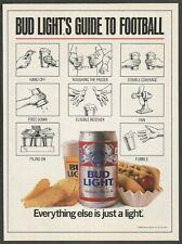 BUD LIGHT BEER . Guide to Football - 1988 Vintage Print Ad