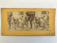 1850s Stereoview French Genre Boys Weighing Each Other