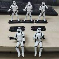 "Lot of 5pcs 3.75"" Star Wars Stormtroopers OTC Trilogy Figures + Guns & Stands"