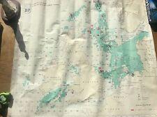 Vintage 1976 Map Chart BP licences in North Sea Celtic Sea British Irish Waters