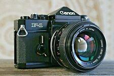 Canon F-1 35mm Camera, 55mm f1.2 S.S.C SSC FD Lens, Case, Extra Film Door, A++++