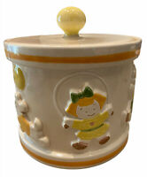 VTG Retro MCM Poppytail Cookie Jar With Kids, Puppy Dogs +Balloons VGC