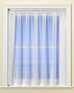 Best Selling Hudson Stripe White Net Curtain Great Value - UK Seller