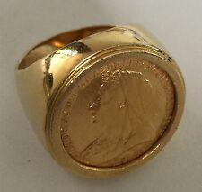 Gold Sovereign Coin in 18ct Gold Ring- Heavy