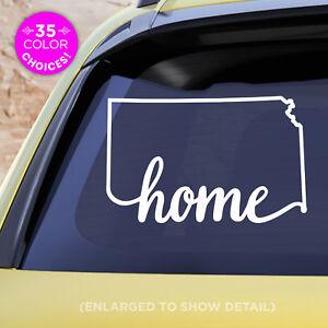 "Kansas State ""Home"" Decal - KS Home Car Vinyl Sticker - add heart over any city!"