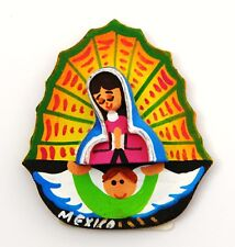 FRIDGE MAGNET 3D SOUVENIR MEXICO SMALL FIGURE ART VIRGIN MARY ANGEL WOODEN
