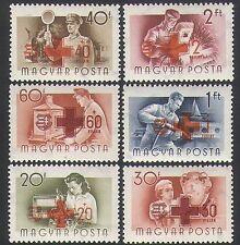 UNGHERIA 1957 Croce Rossa/lavoratori/Motore a Vapore/Ferrovia/Radio/Barca/salute 6v Set n34742