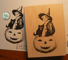 "P6  Halloween Pumpkin Girl 2x3.25"" rubber stamp WM"