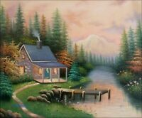 Quality Hand Painted Oil Painting Repro A Quiet Evening 20x24in