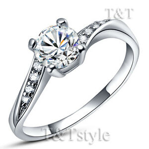 T&T 18K White Gold GP Engagement Wedding Ring With CZ (RF21)