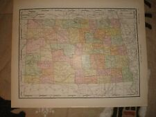 1911 ANTIQUE MAP NORTH DAKOTA SOUTH DAKOTA FINE RARE NR