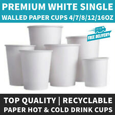 More details for single wall white paper hot cups disposable 7/8/12/16oz for hot/cold drinks