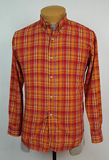 Edwin International Made in Canada Slim Fit Red & Orange Plaid Shirt Size Small
