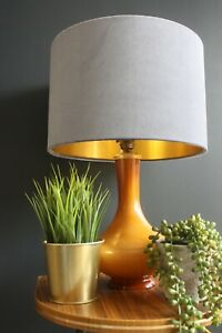 Lampshade, Grey Velvet with Brushed Gold Lining