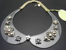 $38 Spring Street Peter Pan Clear Lucite Collar Statement Necklace w/Rhinestones