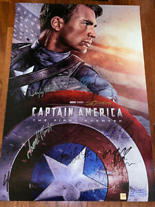 Captain America First Avenger Movie Poster CAST SIGNED Premiere Chris Evans WOW